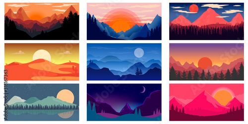 Slika na platnu Set of poster template with wild mountains and desert landscape