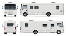 Camper Van On White Background
