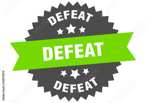 Fotografía defeat sign. defeat circular band label. round defeat sticker