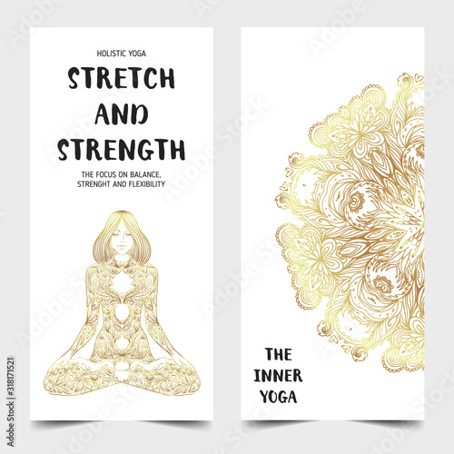 Yoga business card design in gold an black Canvas Print