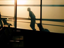 Side View Of Silhouette Man Walking At John F Kennedy International Airport