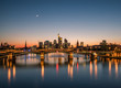 Leinwanddruck Bild - Sunset at Frankfurt am Main, Germany