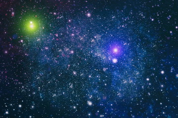 Deep space background with stardust and shining star. Milky way cosmic background.