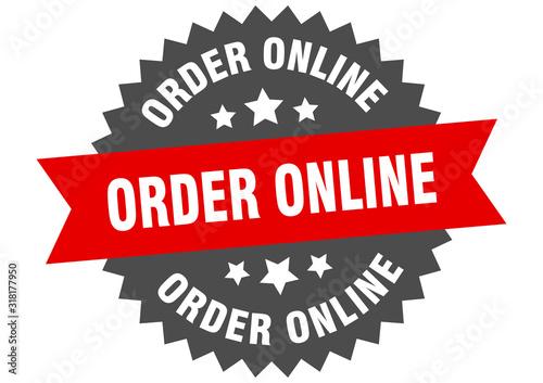 Fototapeta order online sign. order online circular band label. round order online sticker obraz