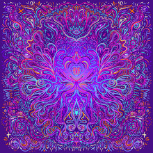 Hypnotic Shamanic Acid Patterned Background. Hand Drawn Design In Ethnic Indian Style. Mystic Abstract Hippie And Boho Texture. Occult And Tribal Fusion Vector Trippy.