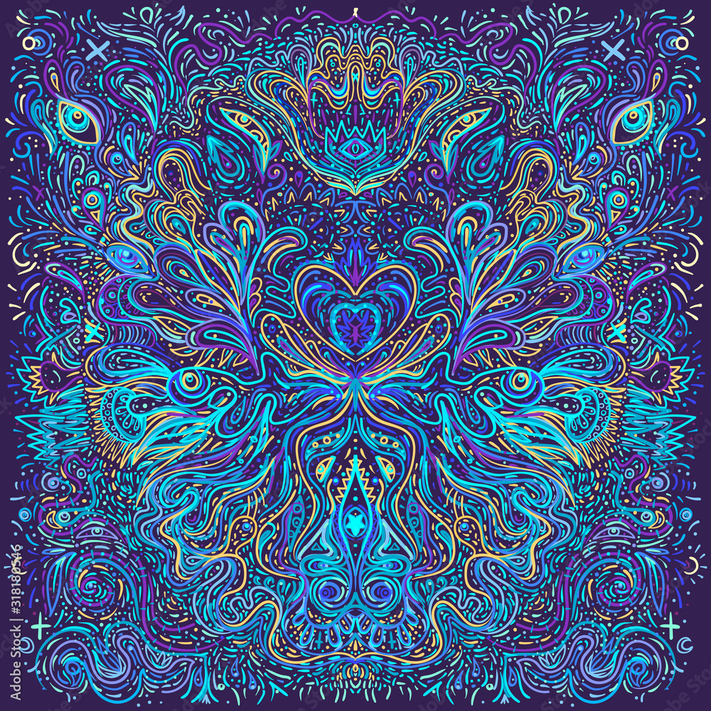 Fototapeta Hypnotic shamanic acid patterned background. Hand drawn design in ethnic Indian style. Mystic abstract hippie and boho texture. Occult and tribal fusion vector trippy.