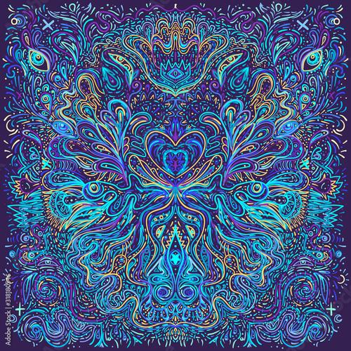 Hypnotic shamanic acid patterned background Wallpaper Mural