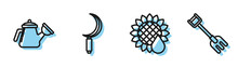 Set Line Sunflower, Watering Can, Sickle And Garden Rake Icon. Vector