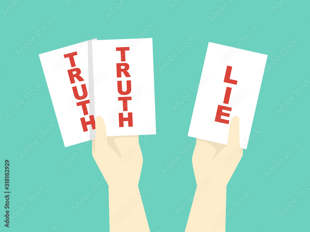 Fototapeta Hands Two Truths And Lie Game Illustration