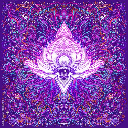Fotografie, Tablou Hypnotic shamanic acid seamless pattern