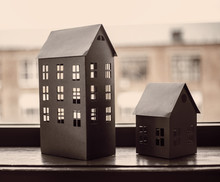Paper Black Models Of Houses O...