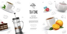 Realistic Tea Time Background
