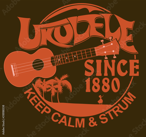 Fotografija Vector illustration with the image of a ukulele, palm trees, a dancing Hawaiian girl and the inscription Keep calm and strum