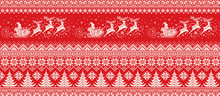Santa Claus Rides Reindeer Sleigh Silhouette. Christmas Pixel Pattern. Traditional Nordic Seamless Striped Ornament. Scheme For Knitted Sweater Pattern Design Or Cross Stitch Embroidery