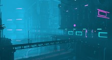 Futuristic City In A Blue Haze. Neon Cyberpunk Future. 3D Illustration. Night Scene With Multicolored Neon Lighting. Dark Industrial Landscape.