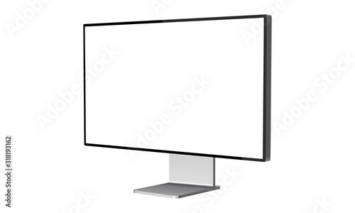 Fotografie, Obraz Computer monitor mockup isolated on white background - side view