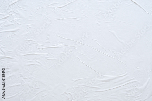 Obraz Blank white crumpled and creased paper poster texture background - fototapety do salonu