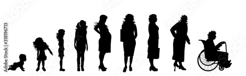 Fototapeta Vector silhouette of woman in different age on white background. Symbol of generation from child to old person. obraz