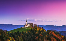 Church Of Saint Leonard Stands On The Church Hill Near The Crni Vrh Village