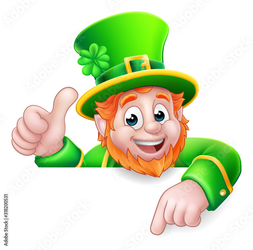 Stampa su Tela A Leprechaun St Patricks Day cartoon character giving a thumbs up, peeking over