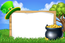 A St Patricks Day Sign With Leprechaun Hat And A Pot Of Gold