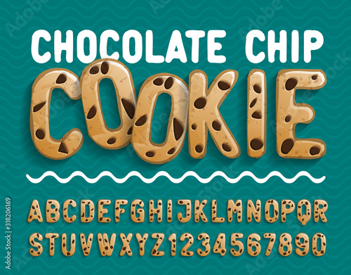 Fototapeta Chocolate Chip Cookie alphabet font. Cartoon cookie letters and numbers. Stock vector illustration for your typography design. obraz