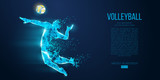 Abstract silhouette of volleyball player man, male with volleyball ball. All elements on a separate layers color can be changed to any other. Low poly neon wire outline geometric. Vector illustration