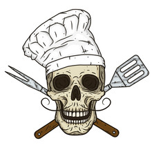 Skull In Toque And Crossed Bar...