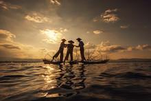 Intha Burmese Fishermen On Boa...