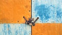 Locked Metallic Garage Door