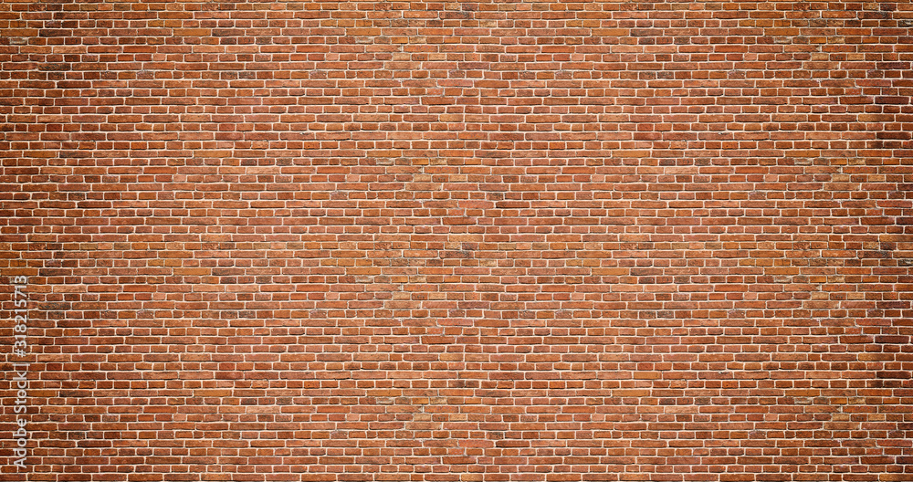 Brick wall. Old vintage brick wall pattern. Red brick wall panoramic background.