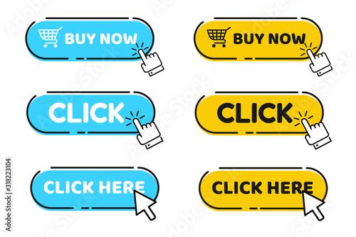 Cuadros en Lienzo Hand cursor vector icon with blue click button