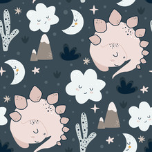 Seamless Pattern With Sleeping Dino - Vector Illustration, Eps