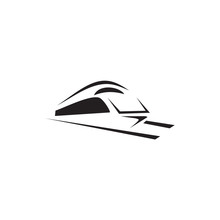 Futuristic Train Logo Design Vector Template