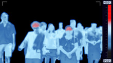 Thermoscan Infrared Camera Scanning People Who Have Fever, Showing Red Color Alert On High Body Temperature For Outbreak Control Situation