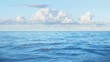 3d ocean animation - Beautiful sea with blue sky and clouds. Morning Freshness.