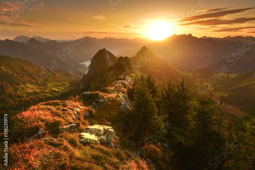 Obraz View of Switzerland mountains at sunrise - fototapety do salonu