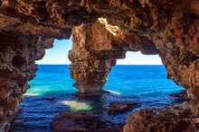 Natural Cave On The Coast In Spain, Moraira, Alicante, Cova Dels Arcs