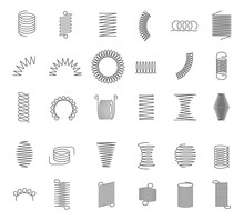 Metal Spiral Spring. Metallic Coils, Motor Machine Spiral Sign, Wire Springs And Steel Curved Flexible Coils. Linear Spirals Silhouette Isolated Vector Industrial Twisted Icons Set