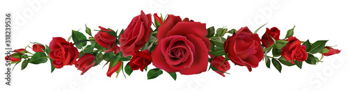 Realistic red roses border. Flower blossom elements, beautiful leaves and burgeon floral composition for wedding card and invitation vector illustration natural botanic love frame elements