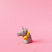 Concrete Unicorn Statue With H...