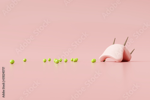 Obraz Upside down chair with green apples on pastel pink background. Creative minimal concept. 3d rendering - fototapety do salonu