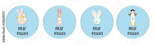 Round easter badges Canvas Print