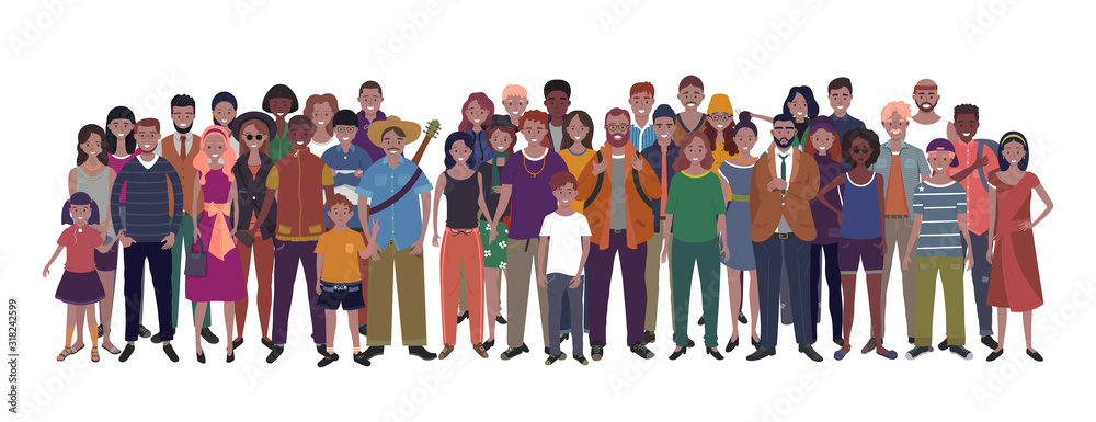 Fototapeta Large group of people of different nationality, ethnicity and age isolated on white background. Children, adults and teenagers stand together. Illustration