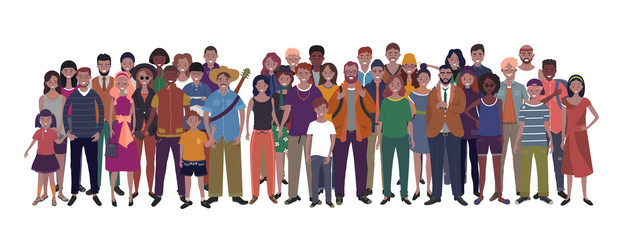 Large group of people of different nationality, ethnicity and age isolated on white background. Children, adults and teenagers stand together. Illustration