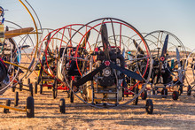 A Large Group Of The Best Paramotors For Powered Paragliding Presents Before The World Competition In Fields In Spain