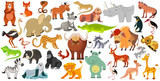 Fototapeta Child room - Set of funny animals, birds and reptiles from all over the world. World fauna. Illustration