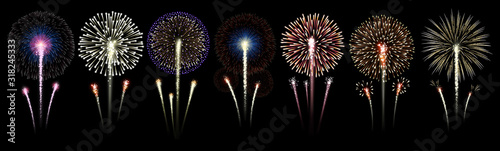Set of bright, realistic fireworks on a transparent background Canvas Print