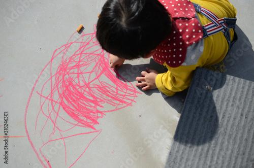 Obraz na plátně 落書きする子供