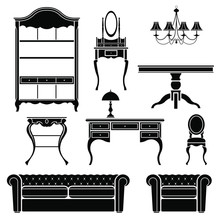 Antique Furniture Silhouettes. Vector  Illustration